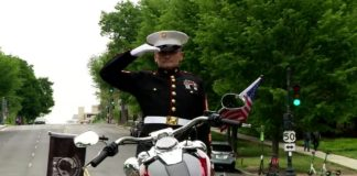 On the Memorial Day weekend, a retired US Marine saluted for 24 hours on a median to make people know about the veteran suicide